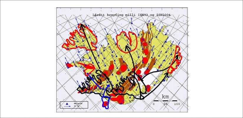 Vector derived tectonic drift - Vestfirðir - Tröllaskagi - Austfirðir 01