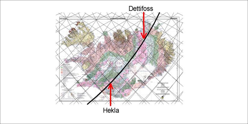 Dettifoss - location - alignment compared with Hekla line