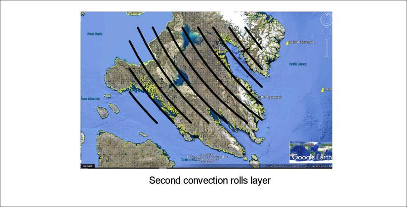 Iceland and Southern Baffinsland - second layer convection rolls only