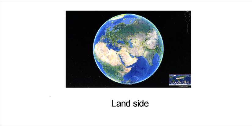 earth on 3 sides - land