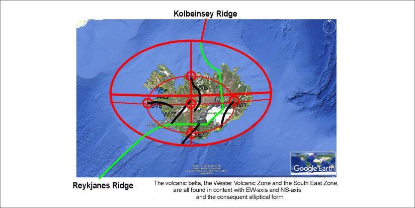 Iceland and the surrounding ocean floor - volcanoes