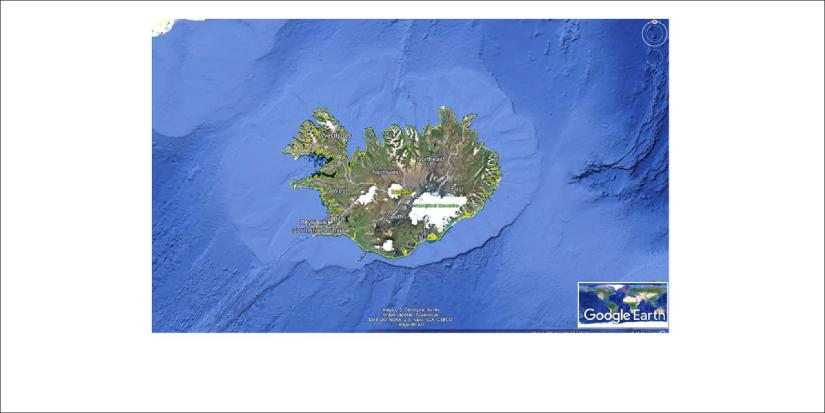 Iceland and the surrounding ocean floor